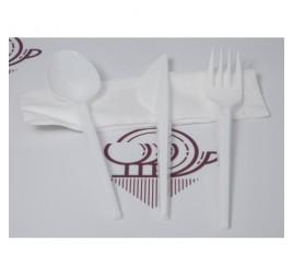 Csomagolt étkező szett, kés, villa, kanál, szalvéta, 250 db / gyűjtő