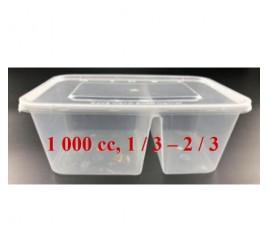 Étel szállítódoboz, osztott 1 / 3 - 2 / 3 (1000 ml)  600 db / gyűjtő