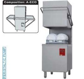 50x50 cm-es Diamond átfutó rendszerű gravitációs tányér- és pohármosogatógép, oldalfalra szerelt befutó és kifutó asztalokkal
