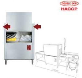 50x50 cm-es Diamond szalagos mosogatógép, jobbról-balra, befutó-kifutó asztalokkal és tartozékokkal