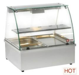 2x GN 1/1-es Diamond asztali vízfürdős elektromos melegentartó vitrin