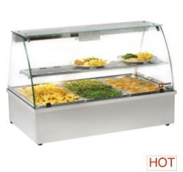 3x GN 1/1-es Diamond asztali vízfürdős elektromos melegentartó vitrin