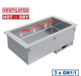 3x GN 1/1-es Diamond beépíthető ventilációs száraz melegentartó medence