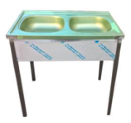 Rozsdamentes kétmedencés háztartási mosogató 38x34x12 cm-es medencemérettel