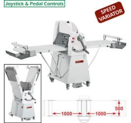 Diamond állványos tésztanyújtó gép, 1000x500 mm-es nyújtási felülettel. változtatható sebességes
