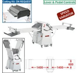 Diamond állványos tésztanyújtó gép, 1400x600 mm-es nyújtási felülettel. változtatható sebességes