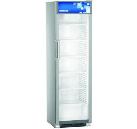 441 literes Liebherr üvegajtós hűtőszekrény reklámpanellel - szürke