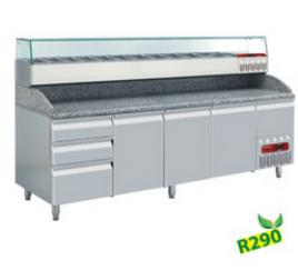 2,5 méteres Diamond  hűtött pizzaelőkészítő asztal 3 ajtóval és 3 + 1 fiókkal, GN 1/4 osztású feltéthűtővel