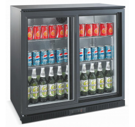208 literes csúszó üvegajtós bárhűtő beépített aggregáttal