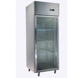 600 literes üvegajtós, rozsdamentes hűtőszekrény