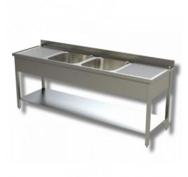 Rozsdamentes kétmedencés mosogató kétoldali csepegtetővel, 50x50x30 cm-es medencemérettel