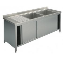 Rozsdamentes kétmedencés mosogató jobb vagy bal oldali csepegtetővel, 50x50x30 cm-es medencemérettel, tolóajtós szekrénnyel