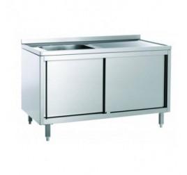 Rozsdamentes egymedencés mosogató jobb vagy bal oldali csepegtetővel, 40x50x30 cm-es medencemérettel, tolóajtós szekrénnyel