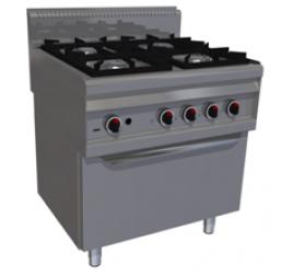 4 égőfejes álló gáztűzhely elektromos légkeveréses sütővel (GN 1/1)