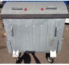 1100 literes fém hulladékgyűjtő konténer ÚJ TERMÉK, BEMUTATÓ DARAB TELEPHELYI ÁTVÉTELLEL