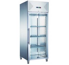 650 literes üvegajtós rozsdamentes hűtőszekrény