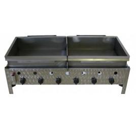 6 égős asztali lángossütő 2 db acélserpenyővel (PB)